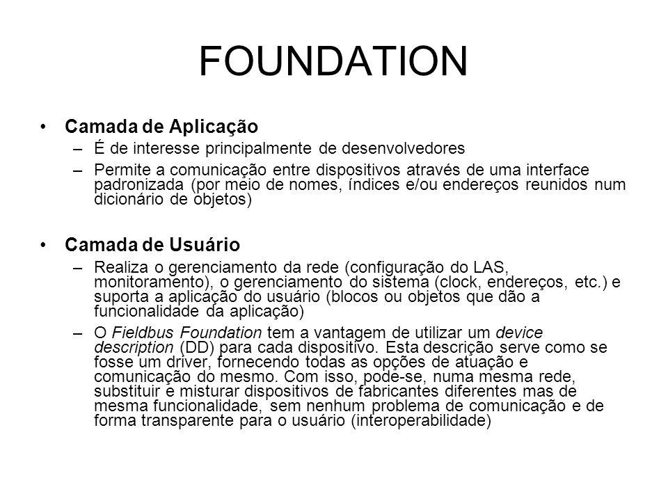 FOUNDATION Camada de Aplicação –É de interesse principalmente de desenvolvedores –Permite a comunicação entre dispositivos através de uma interface padronizada (por meio de nomes, índices e/ou endereços reunidos num dicionário de objetos) Camada de Usuário –Realiza o gerenciamento da rede (configuração do LAS, monitoramento), o gerenciamento do sistema (clock, endereços, etc.) e suporta a aplicação do usuário (blocos ou objetos que dão a funcionalidade da aplicação) –O Fieldbus Foundation tem a vantagem de utilizar um device description (DD) para cada dispositivo.