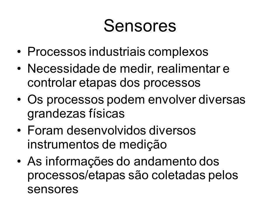 Sensores Processos industriais complexos Necessidade de medir, realimentar e controlar etapas dos processos Os processos podem envolver diversas grandezas físicas Foram desenvolvidos diversos instrumentos de medição As informações do andamento dos processos/etapas são coletadas pelos sensores