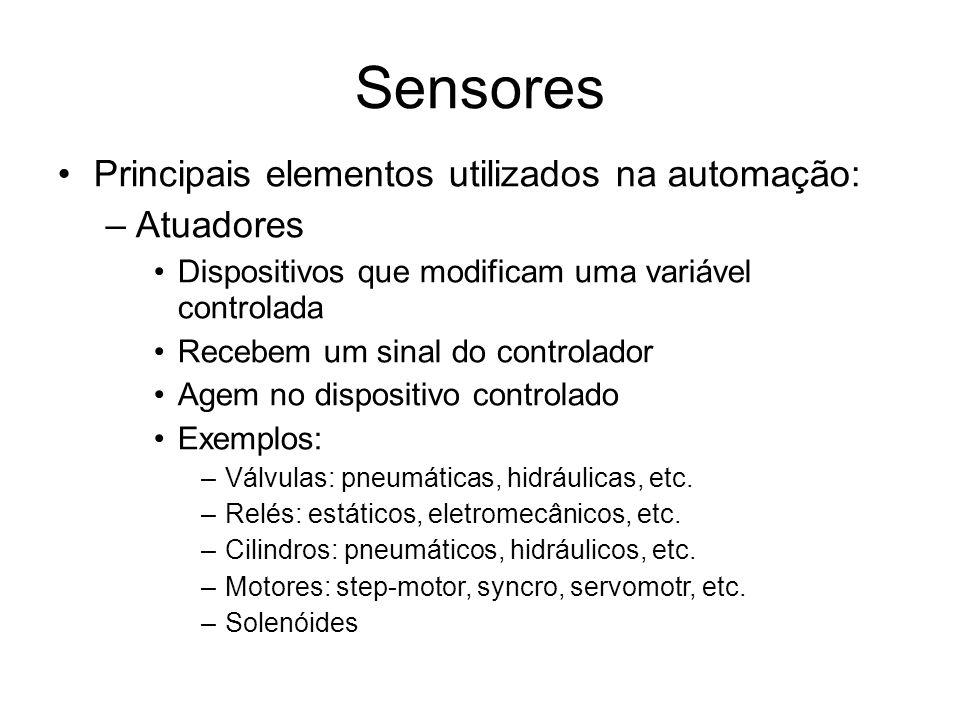 Sensores Principais elementos utilizados na automação: –Atuadores Dispositivos que modificam uma variável controlada Recebem um sinal do controlador Agem no dispositivo controlado Exemplos: –Válvulas: pneumáticas, hidráulicas, etc.