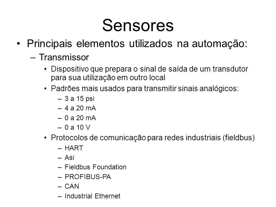 Sensores Principais elementos utilizados na automação: –Transmissor Dispositivo que prepara o sinal de saída de um transdutor para sua utilização em outro local Padrões mais usados para transmitir sinais analógicos: –3 a 15 psi –4 a 20 mA –0 a 20 mA –0 a 10 V Protocolos de comunicação para redes industriais (fieldbus) –HART –Asi –Fieldbus Foundation –PROFIBUS-PA –CAN –Industrial Ethernet