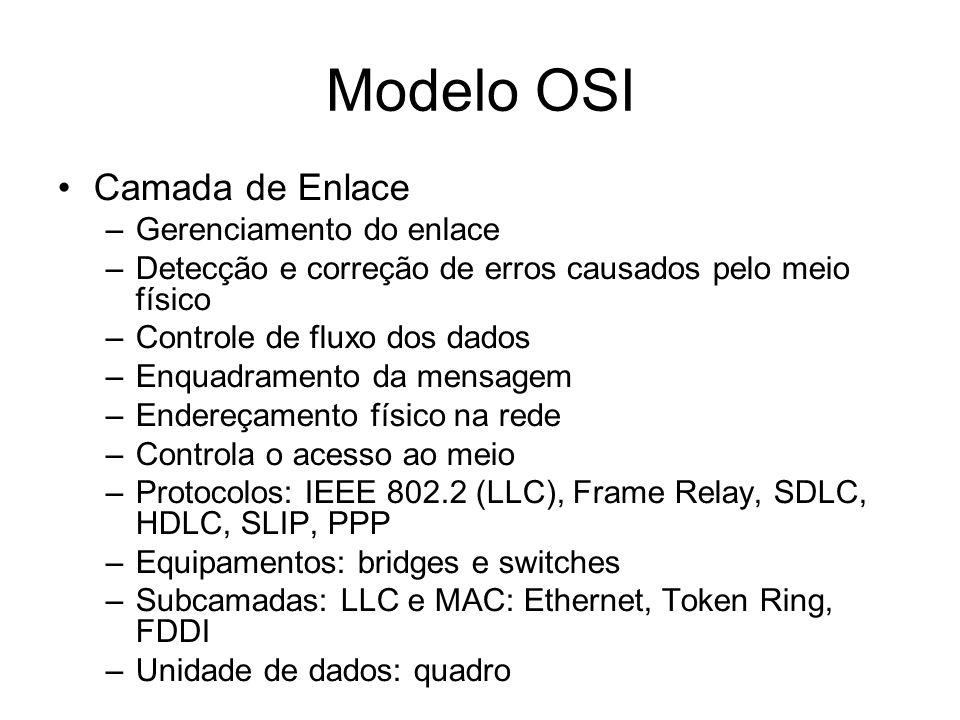 Modelo OSI Camada de Enlace –Gerenciamento do enlace –Detecção e correção de erros causados pelo meio físico –Controle de fluxo dos dados –Enquadramento da mensagem –Endereçamento físico na rede –Controla o acesso ao meio –Protocolos: IEEE 802.2 (LLC), Frame Relay, SDLC, HDLC, SLIP, PPP –Equipamentos: bridges e switches –Subcamadas: LLC e MAC: Ethernet, Token Ring, FDDI –Unidade de dados: quadro