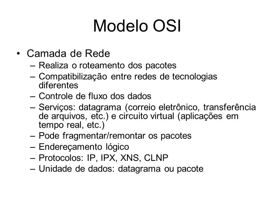 Modelo OSI Camada de Rede –Realiza o roteamento dos pacotes –Compatibilização entre redes de tecnologias diferentes –Controle de fluxo dos dados –Serviços: datagrama (correio eletrônico, transferência de arquivos, etc.) e circuito virtual (aplicações em tempo real, etc.) –Pode fragmentar/remontar os pacotes –Endereçamento lógico –Protocolos: IP, IPX, XNS, CLNP –Unidade de dados: datagrama ou pacote