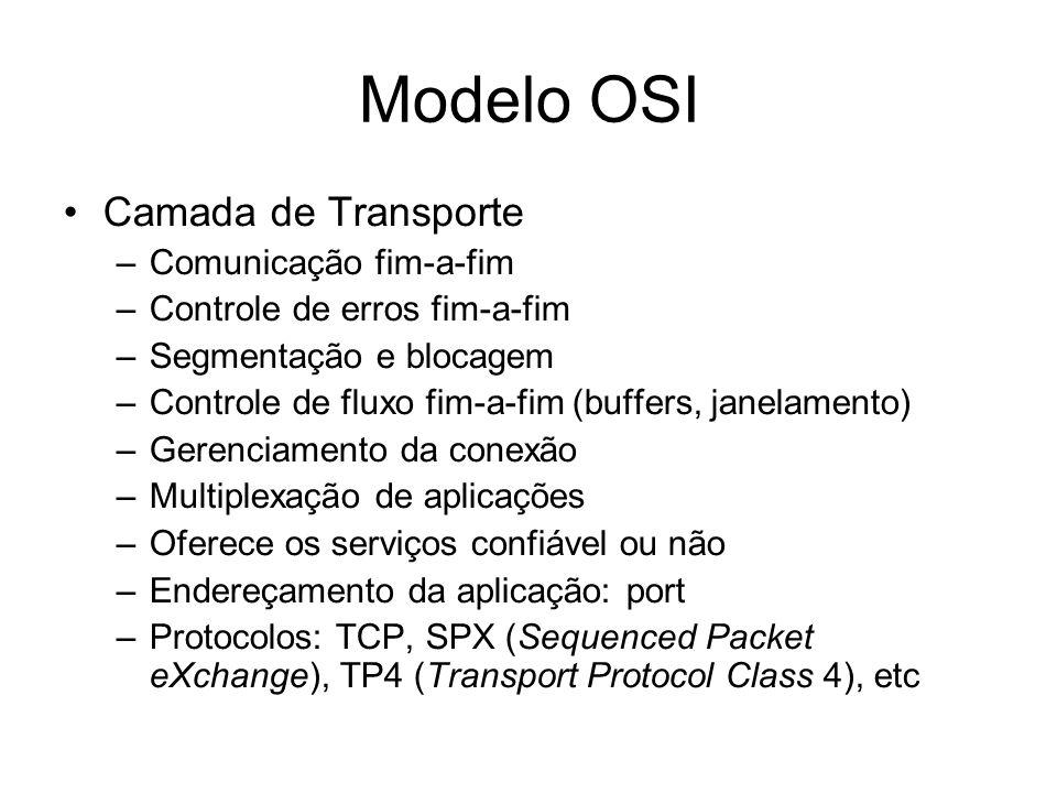 Modelo OSI Camada de Transporte –Comunicação fim-a-fim –Controle de erros fim-a-fim –Segmentação e blocagem –Controle de fluxo fim-a-fim (buffers, janelamento) –Gerenciamento da conexão –Multiplexação de aplicações –Oferece os serviços confiável ou não –Endereçamento da aplicação: port –Protocolos: TCP, SPX (Sequenced Packet eXchange), TP4 (Transport Protocol Class 4), etc