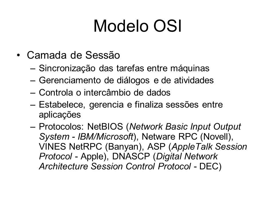 Modelo OSI Camada de Sessão –Sincronização das tarefas entre máquinas –Gerenciamento de diálogos e de atividades –Controla o intercâmbio de dados –Estabelece, gerencia e finaliza sessões entre aplicações –Protocolos: NetBIOS (Network Basic Input Output System - IBM/Microsoft), Netware RPC (Novell), VINES NetRPC (Banyan), ASP (AppleTalk Session Protocol - Apple), DNASCP (Digital Network Architecture Session Control Protocol - DEC)