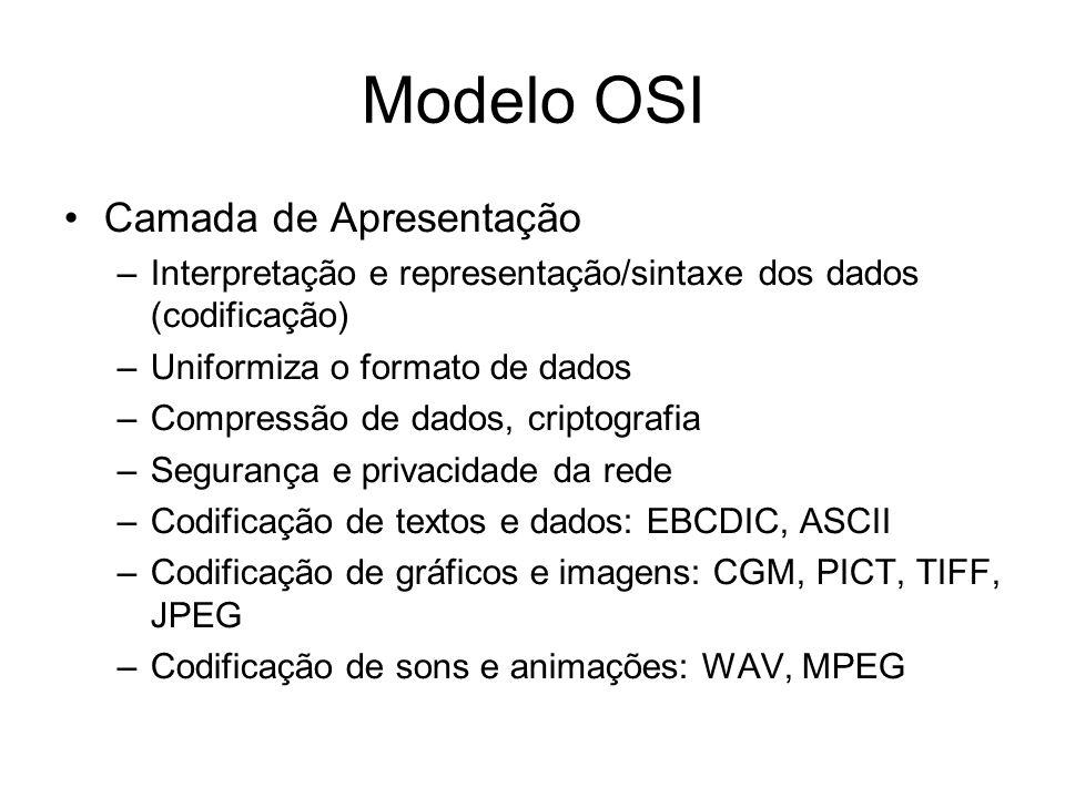 Modelo OSI Camada de Apresentação –Interpretação e representação/sintaxe dos dados (codificação) –Uniformiza o formato de dados –Compressão de dados, criptografia –Segurança e privacidade da rede –Codificação de textos e dados: EBCDIC, ASCII –Codificação de gráficos e imagens: CGM, PICT, TIFF, JPEG –Codificação de sons e animações: WAV, MPEG