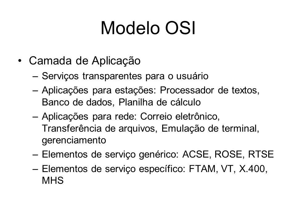 Modelo OSI Camada de Aplicação –Serviços transparentes para o usuário –Aplicações para estações: Processador de textos, Banco de dados, Planilha de cálculo –Aplicações para rede: Correio eletrônico, Transferência de arquivos, Emulação de terminal, gerenciamento –Elementos de serviço genérico: ACSE, ROSE, RTSE –Elementos de serviço específico: FTAM, VT, X.400, MHS