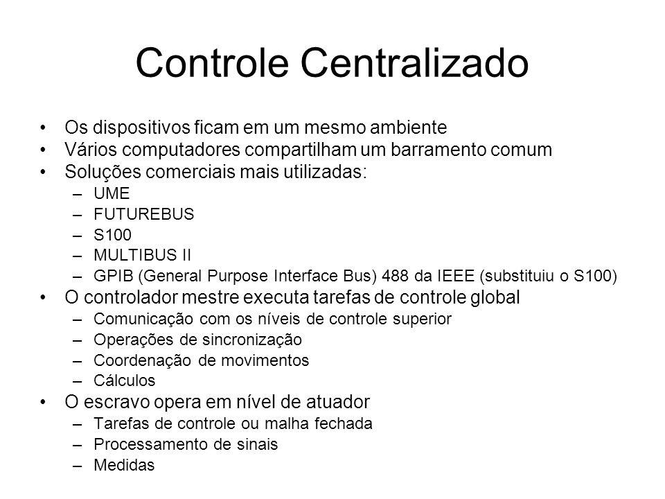 Controle Centralizado Os dispositivos ficam em um mesmo ambiente Vários computadores compartilham um barramento comum Soluções comerciais mais utilizadas: –UME –FUTUREBUS –S100 –MULTIBUS II –GPIB (General Purpose Interface Bus) 488 da IEEE (substituiu o S100) O controlador mestre executa tarefas de controle global –Comunicação com os níveis de controle superior –Operações de sincronização –Coordenação de movimentos –Cálculos O escravo opera em nível de atuador –Tarefas de controle ou malha fechada –Processamento de sinais –Medidas