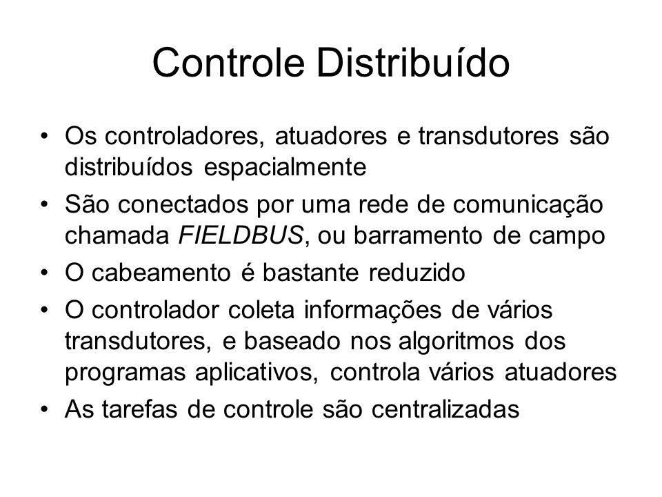 Controle Distribuído Os controladores, atuadores e transdutores são distribuídos espacialmente São conectados por uma rede de comunicação chamada FIELDBUS, ou barramento de campo O cabeamento é bastante reduzido O controlador coleta informações de vários transdutores, e baseado nos algoritmos dos programas aplicativos, controla vários atuadores As tarefas de controle são centralizadas
