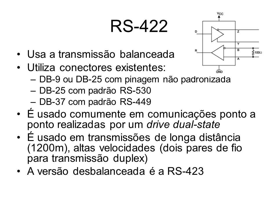 RS-422 Usa a transmissão balanceada Utiliza conectores existentes: –DB-9 ou DB-25 com pinagem não padronizada –DB-25 com padrão RS-530 –DB-37 com padrão RS-449 É usado comumente em comunicações ponto a ponto realizadas por um drive dual-state É usado em transmissões de longa distância (1200m), altas velocidades (dois pares de fio para transmissão duplex) A versão desbalanceada é a RS-423