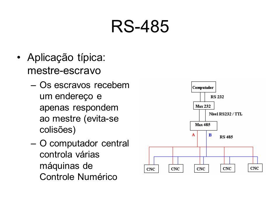 RS-485 Aplicação típica: mestre-escravo –Os escravos recebem um endereço e apenas respondem ao mestre (evita-se colisões) –O computador central controla várias máquinas de Controle Numérico