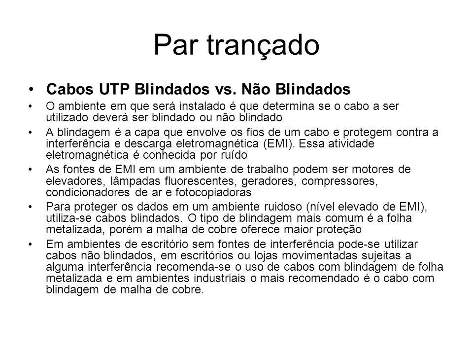 Par trançado Cabos UTP Blindados vs.