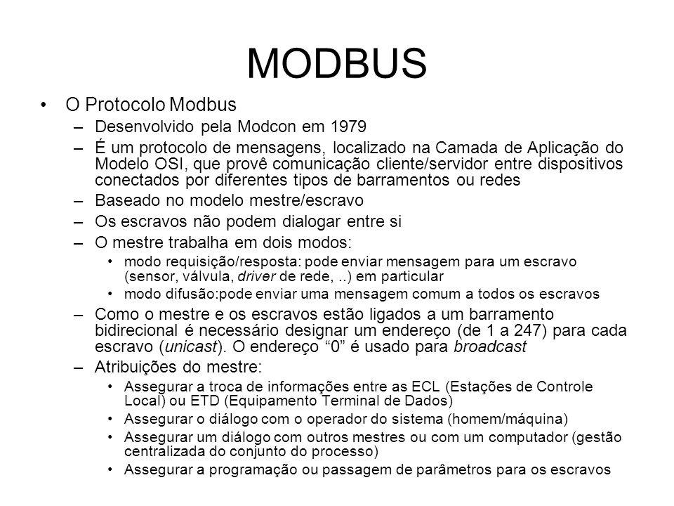MODBUS O Protocolo Modbus –Desenvolvido pela Modcon em 1979 –É um protocolo de mensagens, localizado na Camada de Aplicação do Modelo OSI, que provê comunicação cliente/servidor entre dispositivos conectados por diferentes tipos de barramentos ou redes –Baseado no modelo mestre/escravo –Os escravos não podem dialogar entre si –O mestre trabalha em dois modos: modo requisição/resposta: pode enviar mensagem para um escravo (sensor, válvula, driver de rede,..) em particular modo difusão:pode enviar uma mensagem comum a todos os escravos –Como o mestre e os escravos estão ligados a um barramento bidirecional é necessário designar um endereço (de 1 a 247) para cada escravo (unicast).