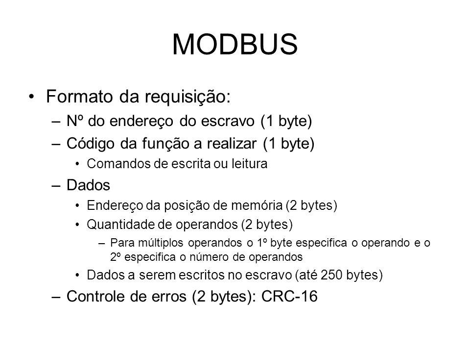 MODBUS Formato da requisição: –Nº do endereço do escravo (1 byte) –Código da função a realizar (1 byte) Comandos de escrita ou leitura –Dados Endereço da posição de memória (2 bytes) Quantidade de operandos (2 bytes) –Para múltiplos operandos o 1º byte especifica o operando e o 2º especifica o número de operandos Dados a serem escritos no escravo (até 250 bytes) –Controle de erros (2 bytes): CRC-16