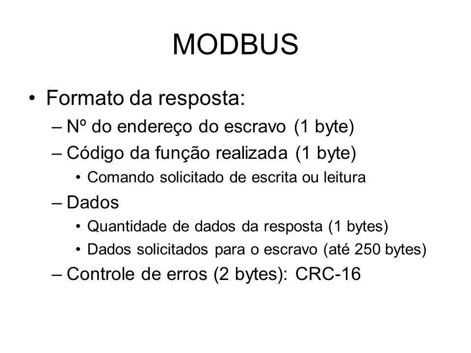 MODBUS Formato da resposta: –Nº do endereço do escravo (1 byte) –Código da função realizada (1 byte) Comando solicitado de escrita ou leitura –Dados Quantidade de dados da resposta (1 bytes) Dados solicitados para o escravo (até 250 bytes) –Controle de erros (2 bytes): CRC-16