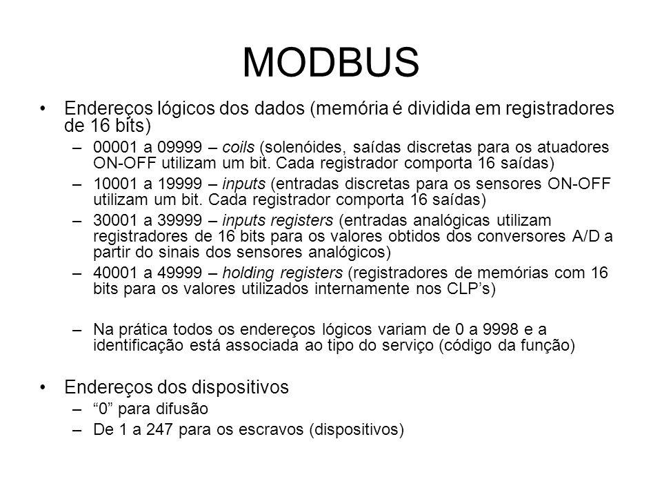 MODBUS Endereços lógicos dos dados (memória é dividida em registradores de 16 bits) –00001 a 09999 – coils (solenóides, saídas discretas para os atuadores ON-OFF utilizam um bit.
