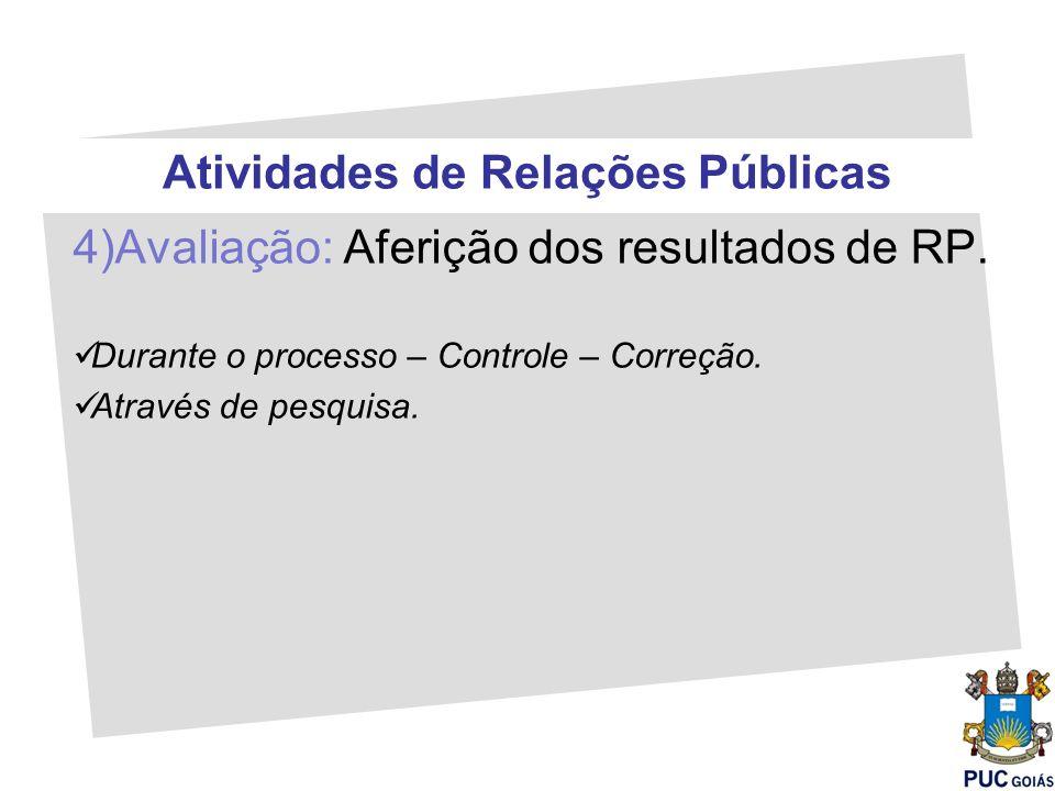 Atividades de Relações Públicas 4)Avaliação: Aferição dos resultados de RP. Durante o processo – Controle – Correção. Através de pesquisa.