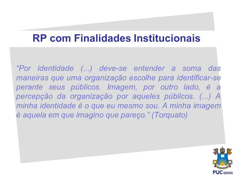 RP com Finalidades Institucionais Por identidade (...) deve-se entender a soma das maneiras que uma organização escolhe para identificar-se perante se