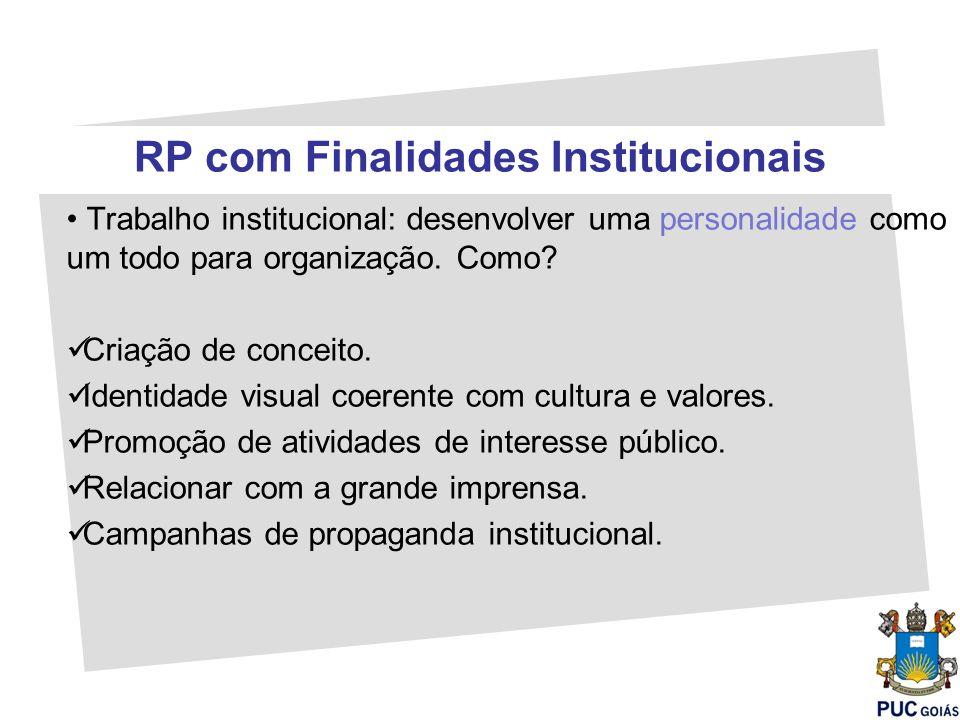 RP com Finalidades Institucionais Trabalho institucional: desenvolver uma personalidade como um todo para organização. Como? Criação de conceito. Iden