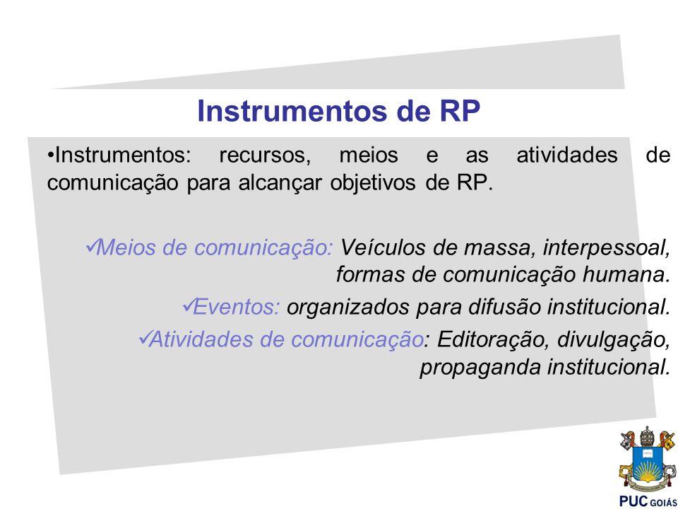 Instrumentos de RP Instrumentos: recursos, meios e as atividades de comunicação para alcançar objetivos de RP. Meios de comunicação: Veículos de massa
