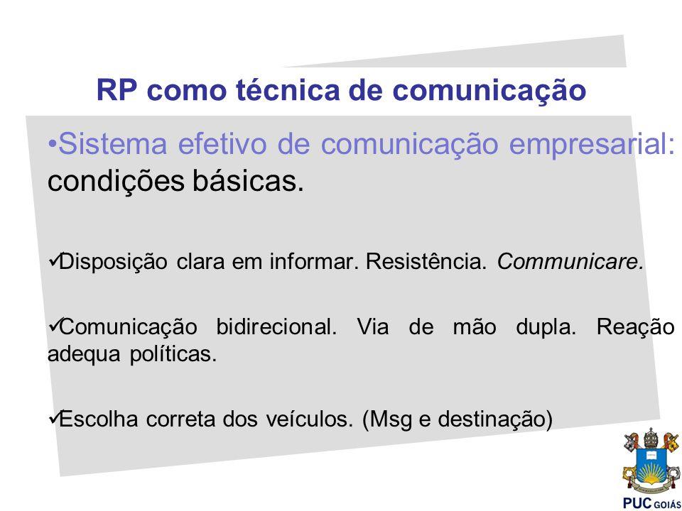 RP como técnica de comunicação Sistema efetivo de comunicação empresarial: condições básicas. Disposição clara em informar. Resistência. Communicare.