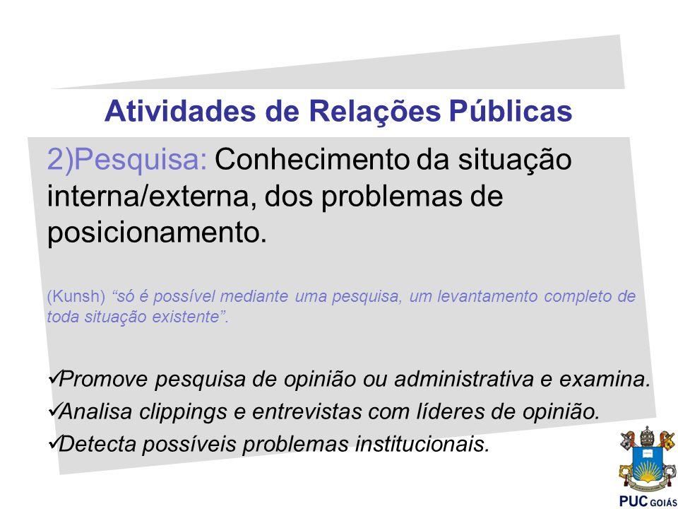 Atividades de Relações Públicas 2)Pesquisa: Conhecimento da situação interna/externa, dos problemas de posicionamento. (Kunsh) só é possível mediante