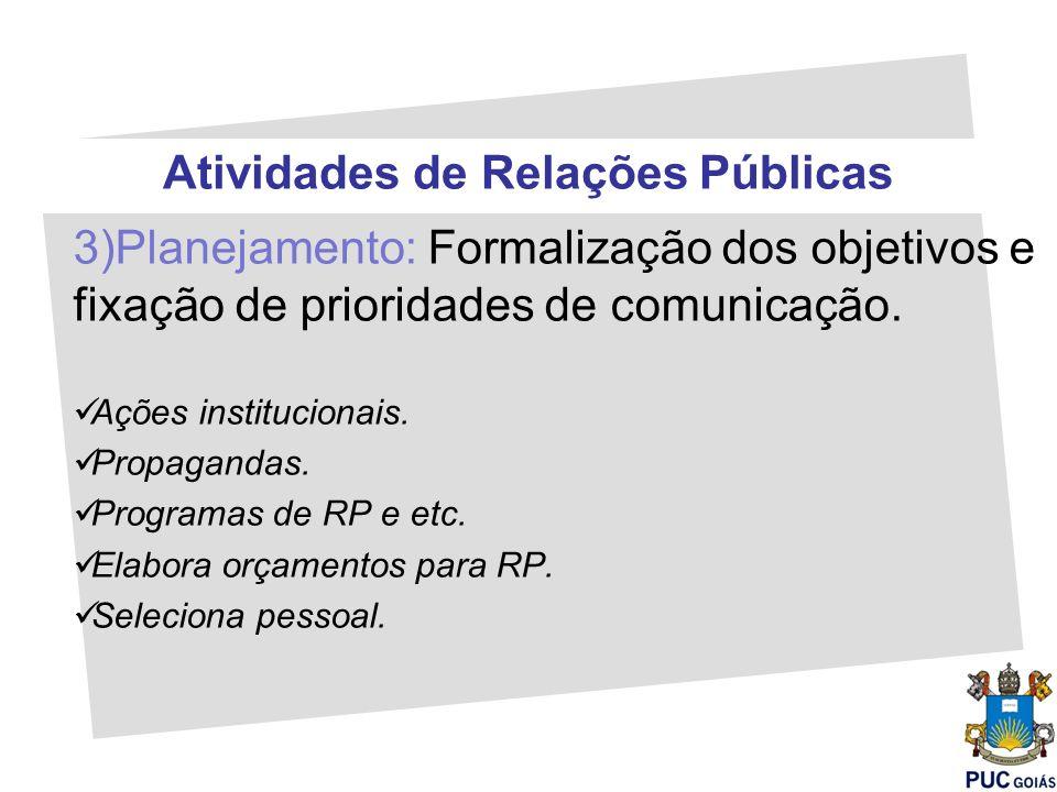 Atividades de Relações Públicas 3)Planejamento: Formalização dos objetivos e fixação de prioridades de comunicação. Ações institucionais. Propagandas.