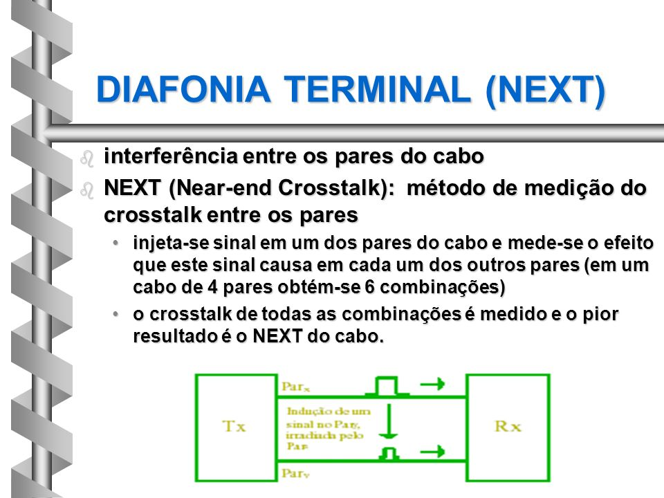 DIAFONIA TERMINAL (NEXT) b interferência entre os pares do cabo b NEXT (Near-end Crosstalk): método de medição do crosstalk entre os pares injeta-se s