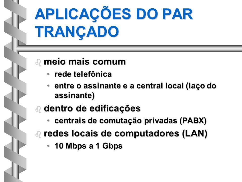 APLICAÇÕES DO PAR TRANÇADO b meio mais comum rede telefônicarede telefônica entre o assinante e a central local (laço do assinante)entre o assinante e