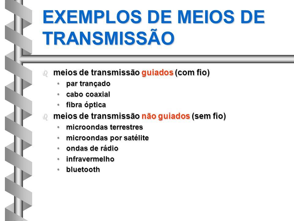 EXEMPLOS DE MEIOS DE TRANSMISSÃO b meios de transmissão guiados (com fio) par trançadopar trançado cabo coaxialcabo coaxial fibra ópticafibra óptica b