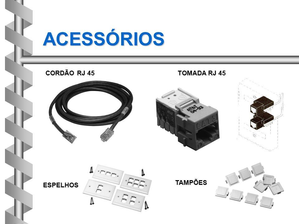 ACESSÓRIOS TOMADA RJ 45 ESPELHOS TAMPÕES CORDÃO RJ 45