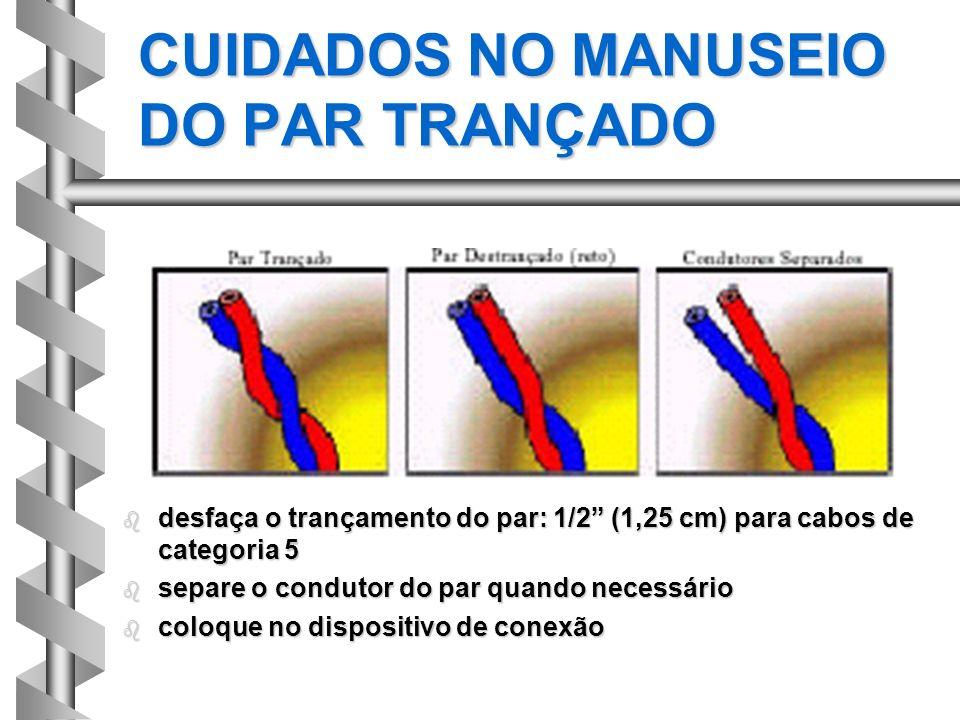 CUIDADOS NO MANUSEIO DO PAR TRANÇADO b desfaça o trançamento do par: 1/2 (1,25 cm) para cabos de categoria 5 b separe o condutor do par quando necessá