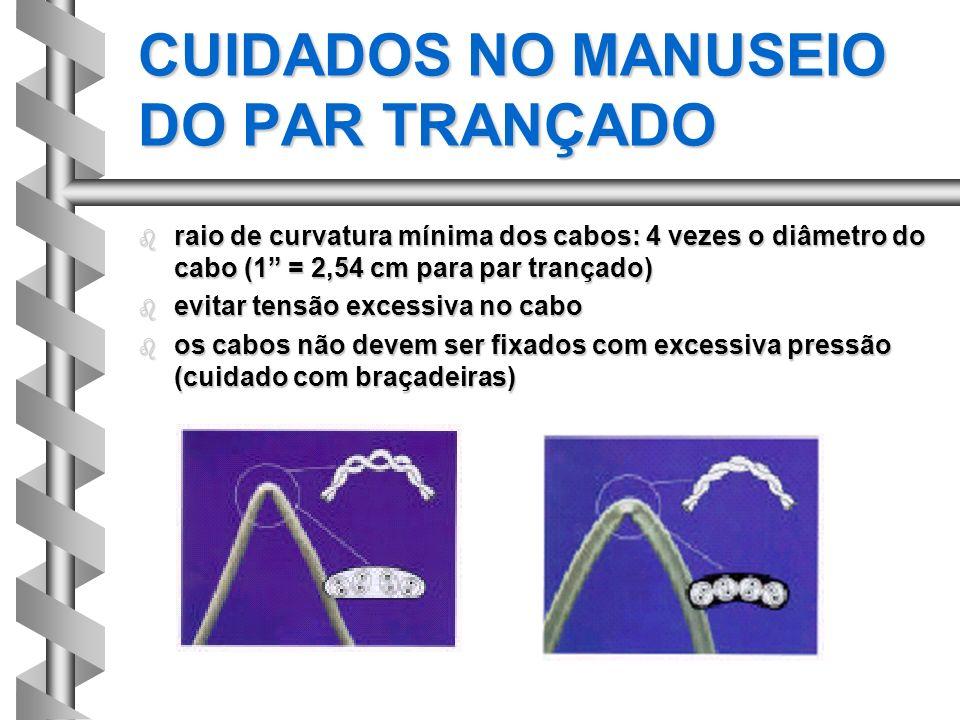 b raio de curvatura mínima dos cabos: 4 vezes o diâmetro do cabo (1 = 2,54 cm para par trançado) b evitar tensão excessiva no cabo b os cabos não deve