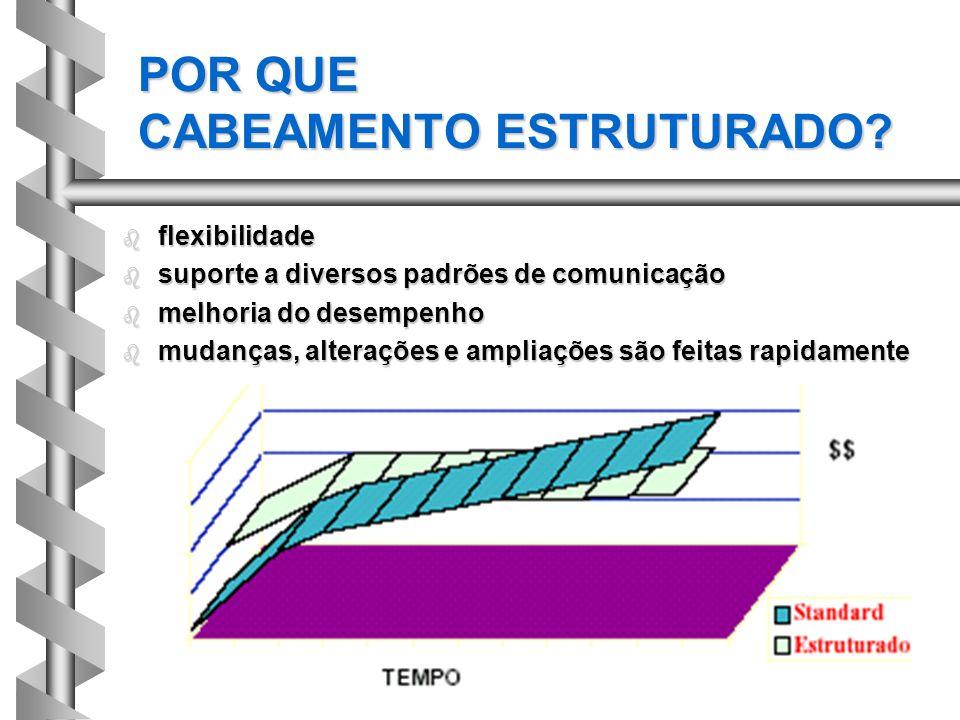 POR QUE CABEAMENTO ESTRUTURADO? b flexibilidade b suporte a diversos padrões de comunicação b melhoria do desempenho b mudanças, alterações e ampliaçõ