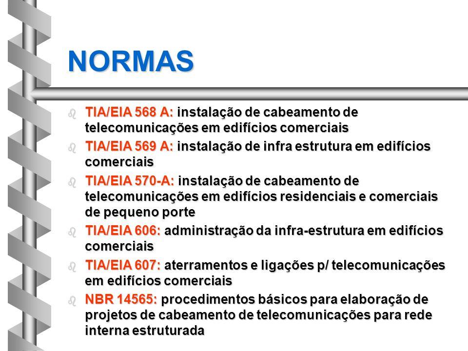 b TIA/EIA 568 A: instalação de cabeamento de telecomunicações em edifícios comerciais b TIA/EIA 569 A: instalação de infra estrutura em edifícios come