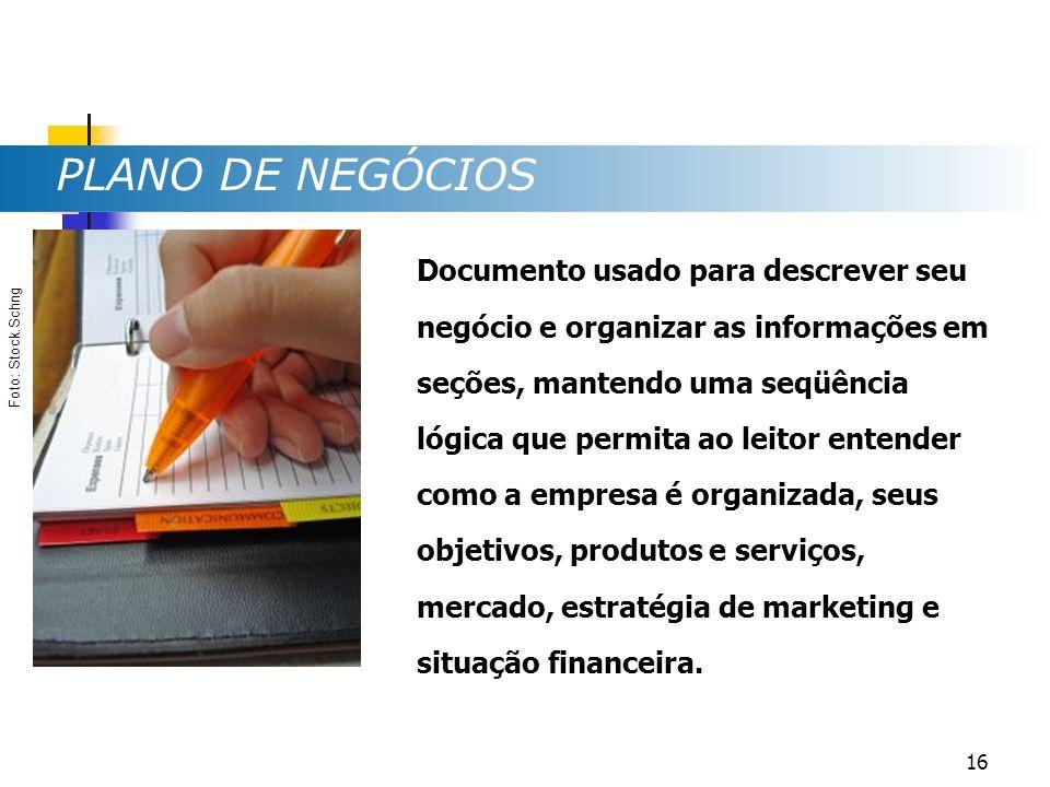 PLANO DE NEGÓCIOS Documento usado para descrever seu negócio e organizar as informações em seções, mantendo uma seqüência lógica que permita ao leitor