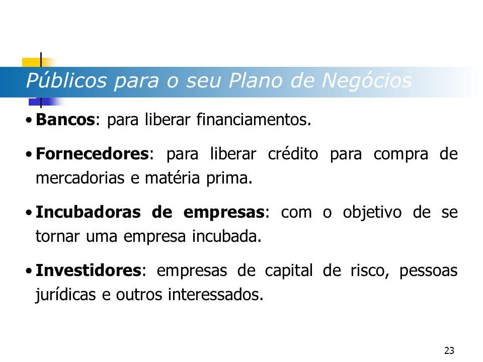 Bancos: para liberar financiamentos. Fornecedores: para liberar crédito para compra de mercadorias e matéria prima. Incubadoras de empresas: com o obj