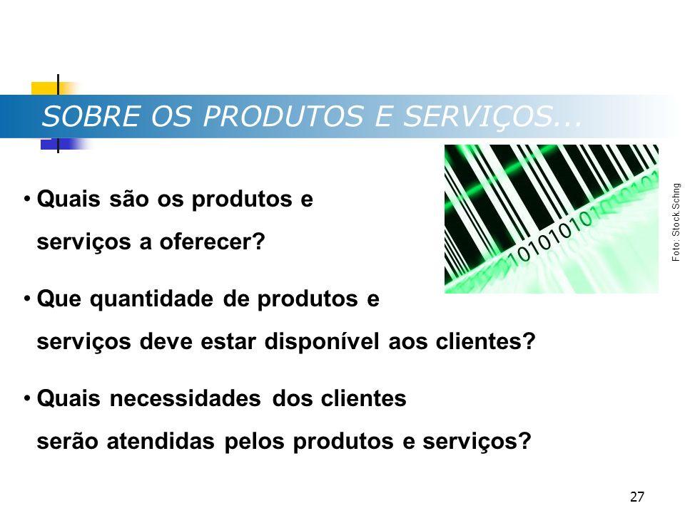 SOBRE OS PRODUTOS E SERVIÇOS... Quais são os produtos e serviços a oferecer? Que quantidade de produtos e serviços deve estar disponível aos clientes?