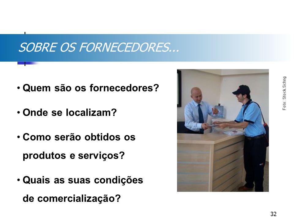 SOBRE OS FORNECEDORES... Quem são os fornecedores? Onde se localizam? Como serão obtidos os produtos e serviços? Quais as suas condições de comerciali