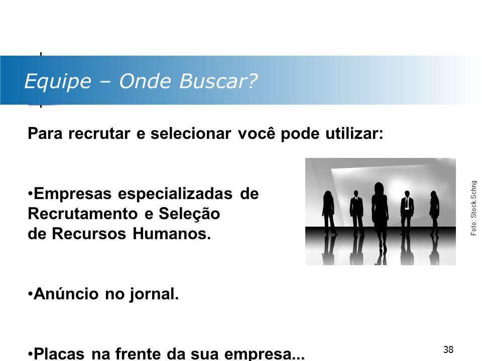 Equipe – Onde Buscar? Para recrutar e selecionar você pode utilizar: Empresas especializadas de Recrutamento e Seleção de Recursos Humanos. Anúncio no