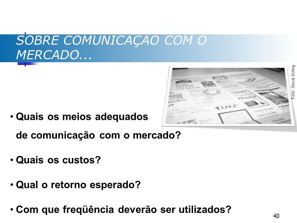 SOBRE COMUNICAÇÃO COM O MERCADO... Quais os meios adequados de comunicação com o mercado? Quais os custos? Qual o retorno esperado? Com que freqüência