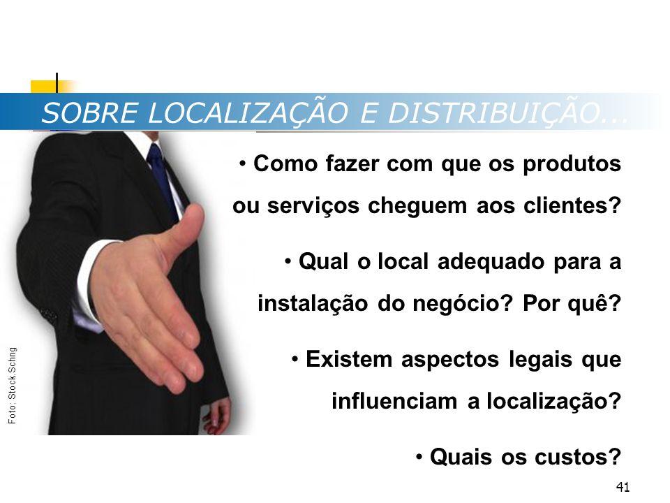 SOBRE LOCALIZAÇÃO E DISTRIBUIÇÃO... Como fazer com que os produtos ou serviços cheguem aos clientes? Qual o local adequado para a instalação do negóci
