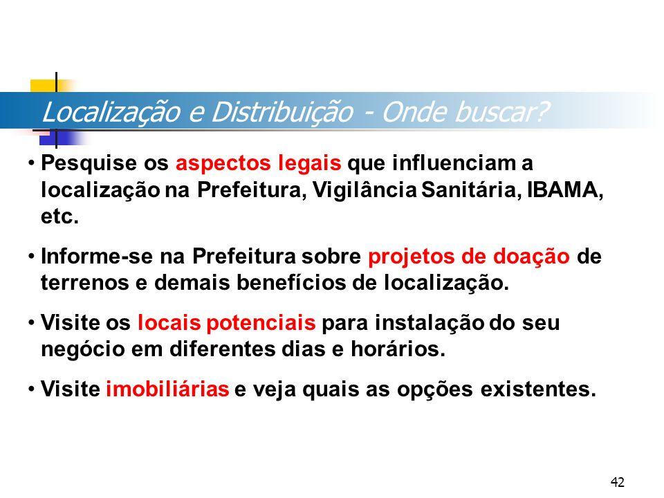 Localização e Distribuição - Onde buscar? Pesquise os aspectos legais que influenciam a localização na Prefeitura, Vigilância Sanitária, IBAMA, etc. I