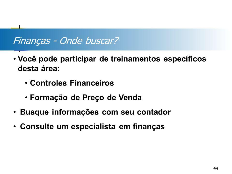 Finanças - Onde buscar? Você pode participar de treinamentos específicos desta área: Controles Financeiros Formação de Preço de Venda Busque informaçõ