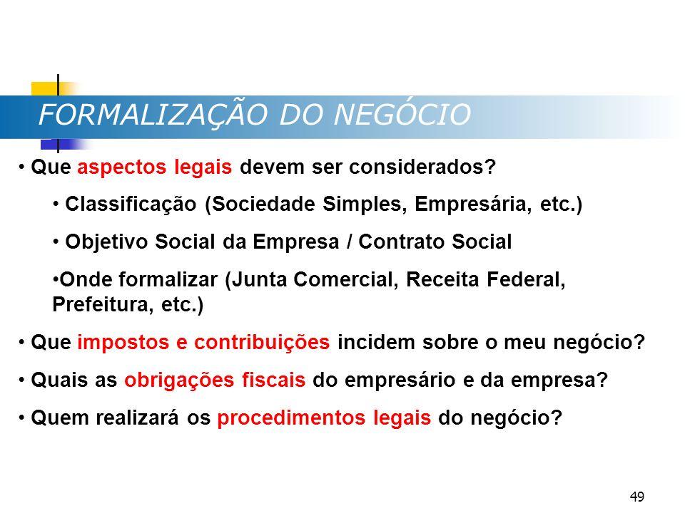 FORMALIZAÇÃO DO NEGÓCIO Que aspectos legais devem ser considerados? Classificação (Sociedade Simples, Empresária, etc.) Objetivo Social da Empresa / C