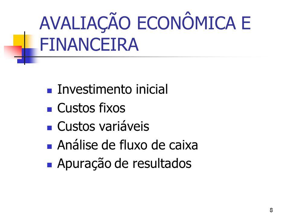8 AVALIAÇÃO ECONÔMICA E FINANCEIRA Investimento inicial Custos fixos Custos variáveis Análise de fluxo de caixa Apuração de resultados
