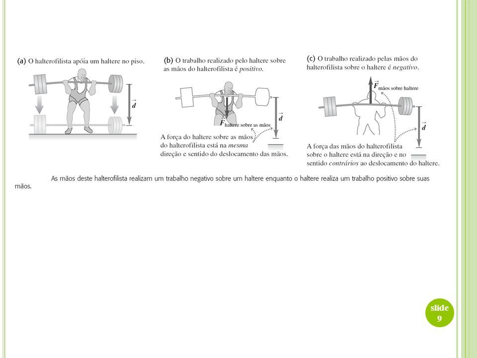 slide 10 Exemplo: um fazendeiro engata um trenó carregado de madeira em seu trator e puxa até uma distância de 20 m ao longo de um terreno horizontal.