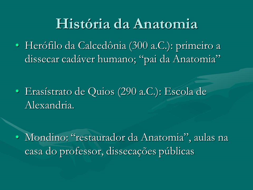 História da Anatomia Galeno de Pérgamo (130 a 200 d.C.): retrocesso, aliado a igreja, ação do cérebro sobre todas as manifestações físicas, religião e ciência.