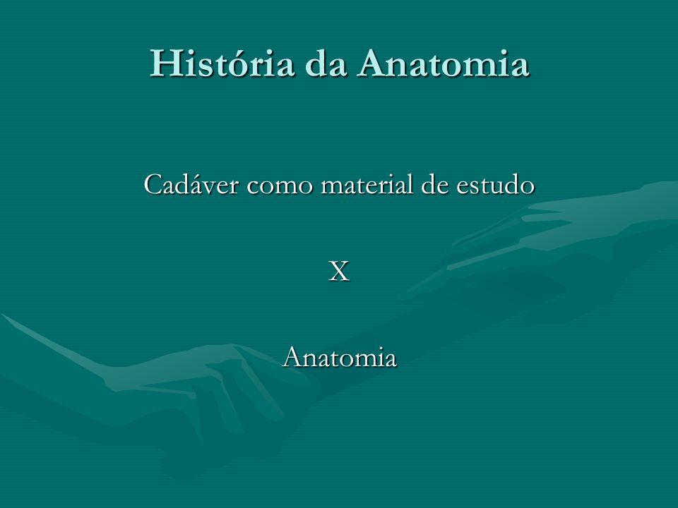 História da Anatomia Conhecimento do corpo humano: -Necessidade de manter o corpo íntegro (superação da morte).