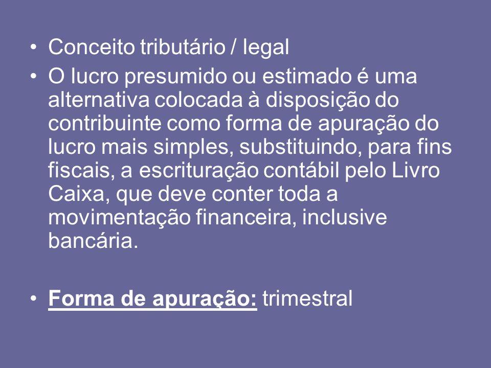 Conceito tributário / legal O lucro presumido ou estimado é uma alternativa colocada à disposição do contribuinte como forma de apuração do lucro mais