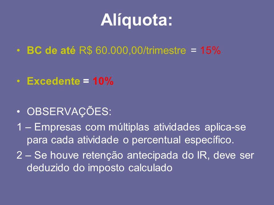 Alíquota: BC de até R$ 60.000,00/trimestre = 15% Excedente = 10% OBSERVAÇÕES: 1 – Empresas com múltiplas atividades aplica-se para cada atividade o pe
